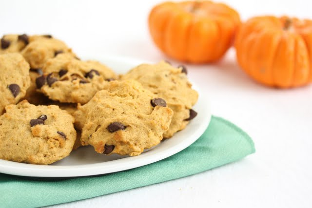 photo of a plate of Pumpkin Chocolate Chip Cookies
