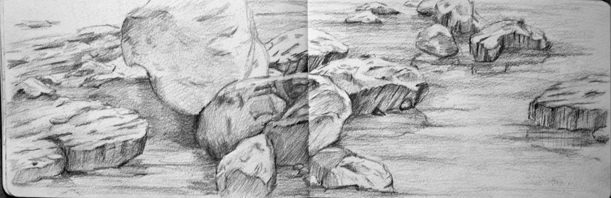 Cuaderno de apuntes dibujos a grafito - Dibujos de piedras ...