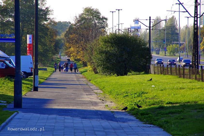 A w dalszej perspektywie jest szeroka asfaltowa alejka, która bez problemu mogłaby się stać drogą dla rowerów i chodnikiem obok (nawet bez modernizacji)