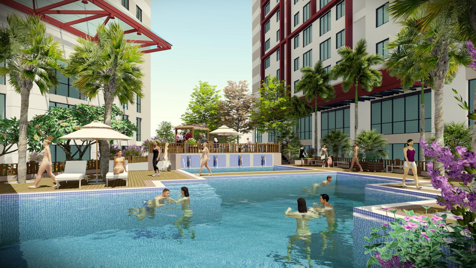 Bể bơi ngoài trời dự án Imperial Plaza