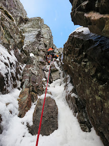 "A quality mixed pitch on ""Raeburn's Route"", IV, on Stob Coire Nan Lochan."