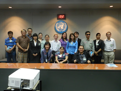 CIDP students and IDPP staff meet with staff from the United Nations Economic and Social Commission for Asia and the Pacific during a residency site visit