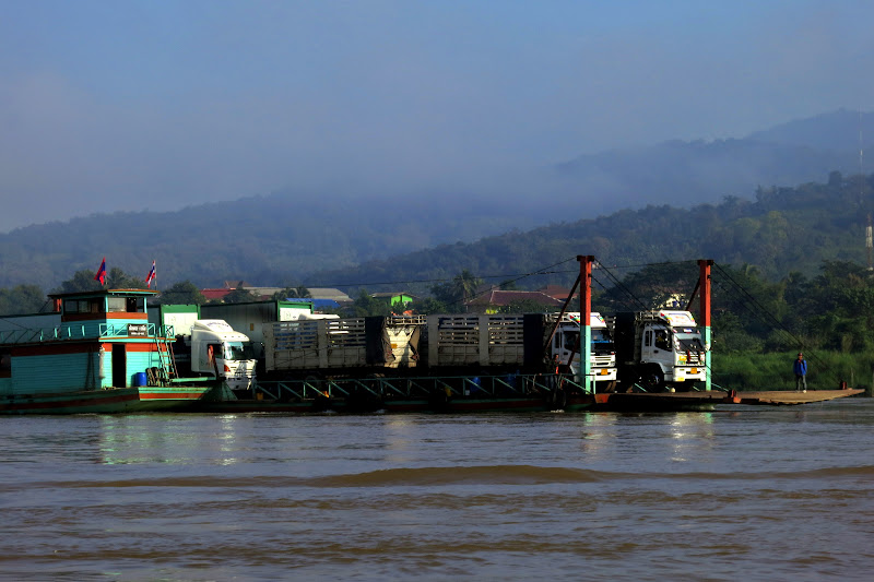 Ferry carrying large trucks