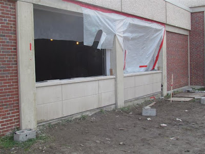 New precast panels installed outside west side lab windows