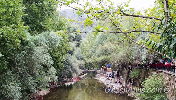 Bursa Misi köyündeki Misi deresi ve dere kenarındaki çay bahçeleri