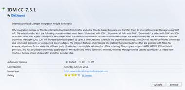 IDM CC 7.3.1 dành cho Firefox 5.0