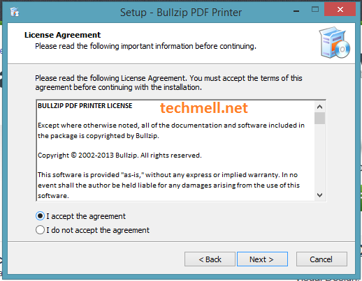 License Agreement for Installation of Bullzip PDF Printer in Windows 8.1