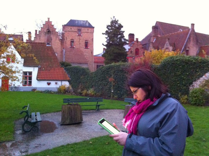 Vanessa Chiasson today, working on the road in Bruges as a travel writer.
