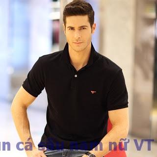Đặt mua Online áo thun có cổ nam màu đen