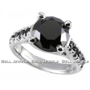 Huge 3.55ct Fancy-Black Diamond Engagement Ring