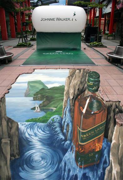 Ejemplos de publicidad 3d en el piso - Johnnie Walker