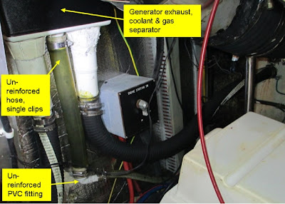 PVC skin fitting on yacht generator exhaust system