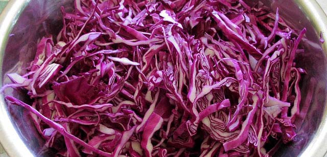 You can use red cabbage for our Mediterranean Style Coleslaw recipe