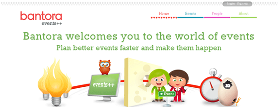 Header of an event planning website that says Bantora wecomes you to the world of events