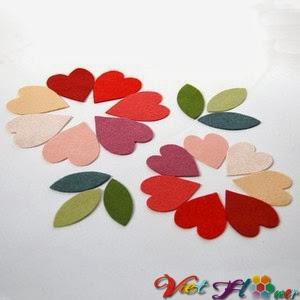 Bó hoa vải đẹp cho ngày lễ valentine (bước 2)