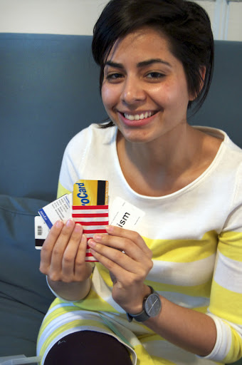 Natalie sewed a cardholder for her Metro card and ID.