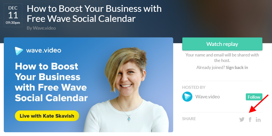 Webinar Landing Page Example from Crowdcast