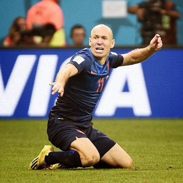 Netherlands' forward Arjen Robben reacts during the third place play-off football match between Brazil and Netherlands during the 2014 FIFA World Cup at the National Stadium in Brasilia on July 12, 2014.