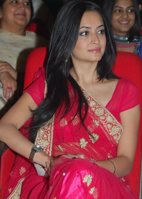 kriti kharbandha in red saree photo gallery