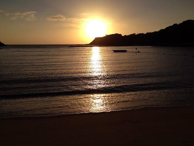 小水浜海水浴場の夕日