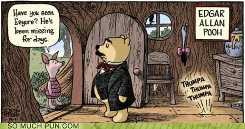 cartoon of Pooh as Edgar Allen Poe...a telltale heart with Eeyore