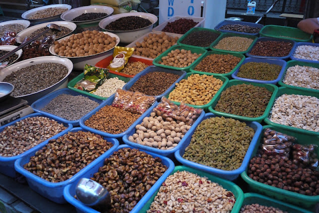 variety of dry nuts and beans at Zhengning Street Night Market in Lanzhou, China