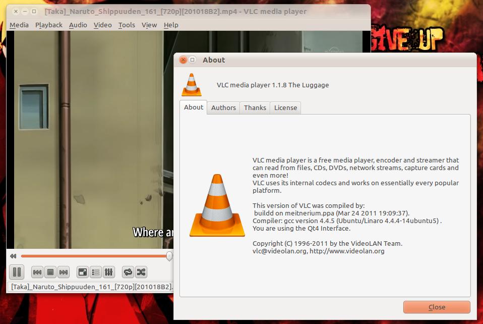 VLC 1.1.8 di Ubuntu 10.10 Maverick Meerkat