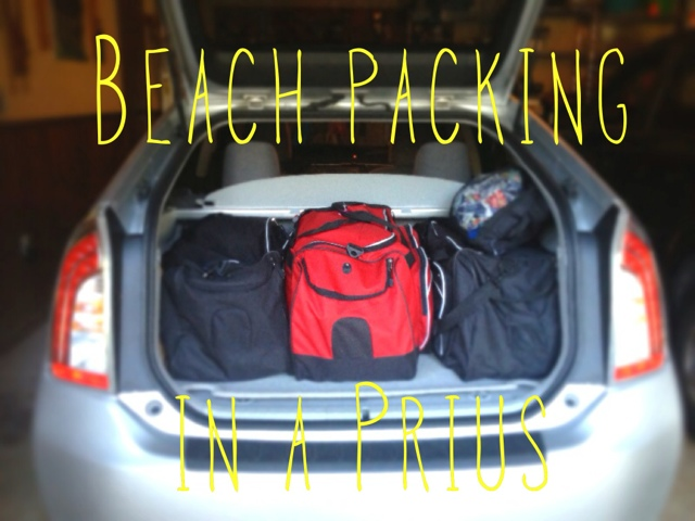 beach packing list, packing in a prius