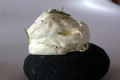 Butter on a stone at Dill restaurant in Reykjavik