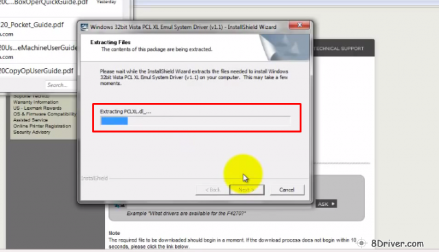 Extracting Lexmark Prestige Pro805 printers drivers files