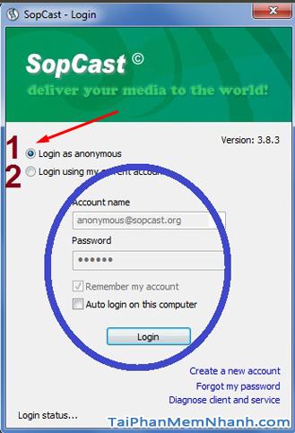 đăng nhập sopcast