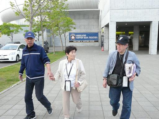 試合後、札幌ドームを後に