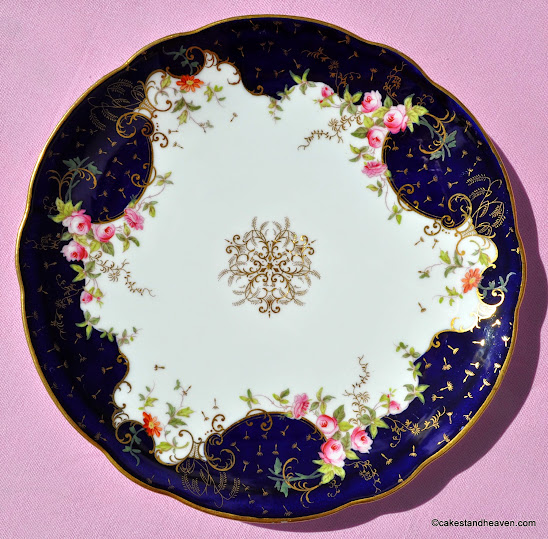 Coalport cobalt blue, gold seed heads and pink roses pattern