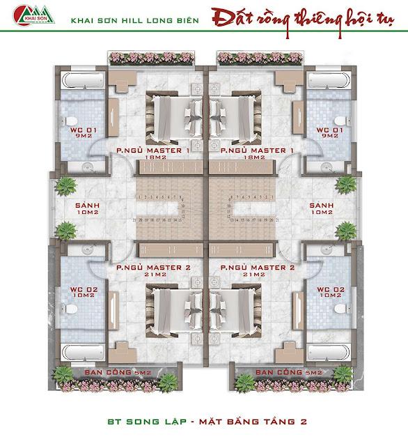 Thiết kế tầng 2 biệt thự song lập