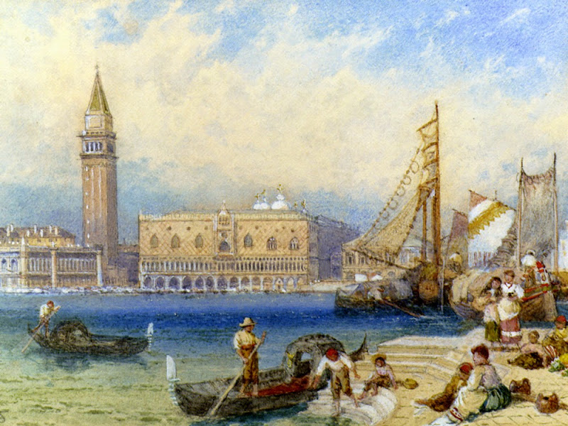 Myles Birket Foster - St Marks and The Ducal Palace From San Giorgio Maggiore