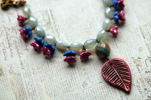 Pink and Seafoam Woodland Necklace by Bead Soup Jewelry