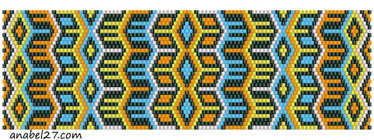 схема мозаичного браслета (peyote pattern)