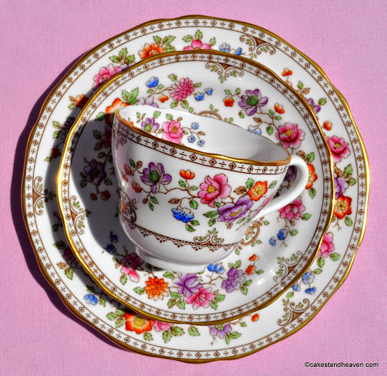 Hand painted floral and gold Spode Teacup Trio
