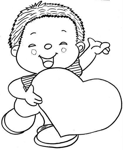 Niño con corazón para colorear