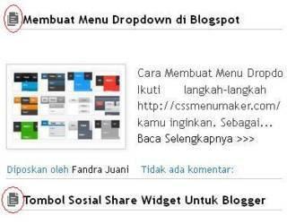 Cara menambahkan gambar disamping judul posting blog Menambahkan Gambar Disamping Judul Posting