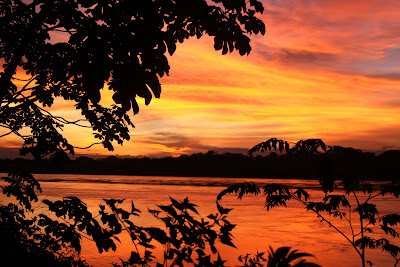 Sunrise over the Madre de Dios River in Tambopata Peru