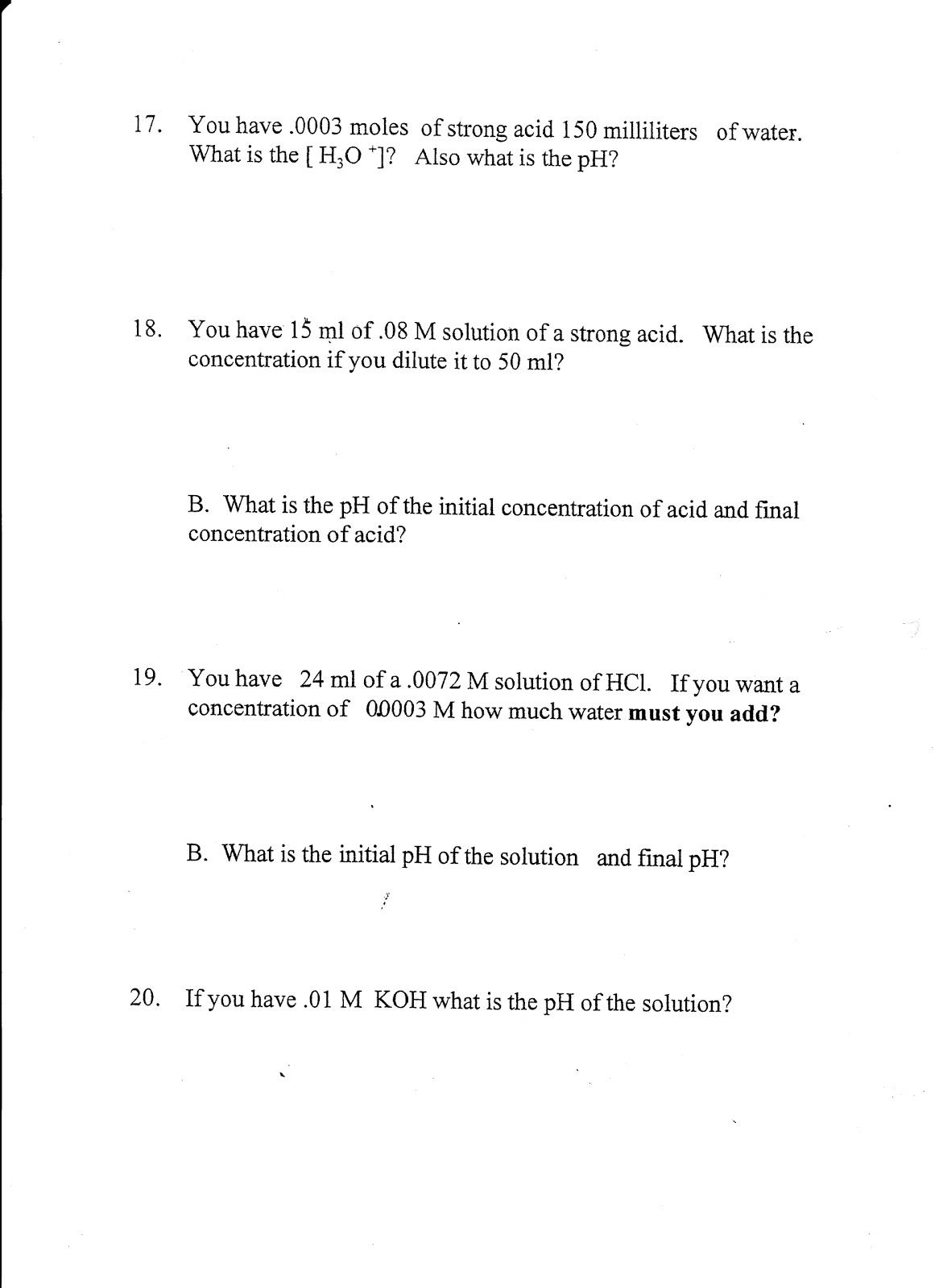 Chemistry Due Thur March 24 dilution lab Due Fri titration – Dilutions Worksheet