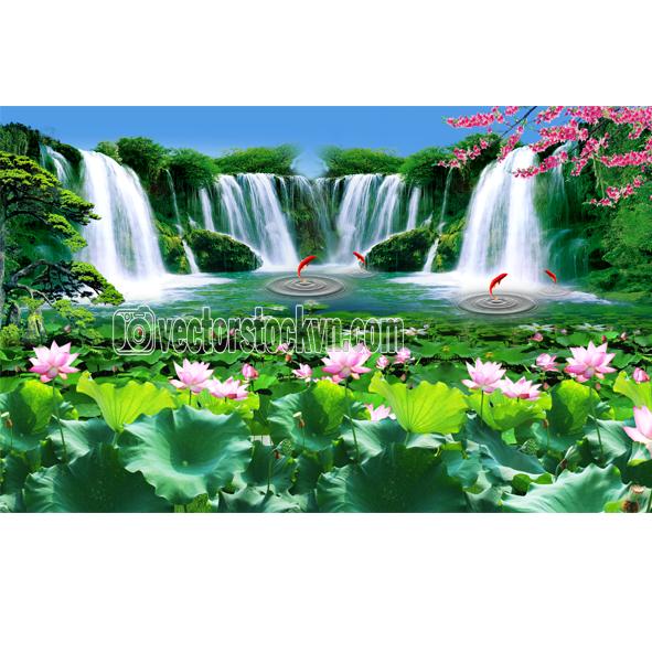 Tranh Ao sen thác nước.