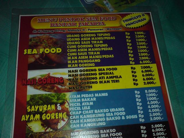 Daftar Menu di Bandar Jakarta Seafood