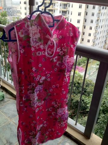 dark pink floral QiPao