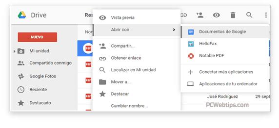 convertir pdf google drive