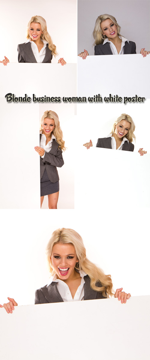 Stock Photo: Blonde business woman with white poster