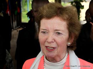 Mary Robinson, l'envoyée spéciale de l'Onu pour la région des Grands Lacs le 28/04/2013 à Kinshasa, lors d'un point de presse au ministère des Affaires Etrangères. Radio Okapi/Ph. John Bompengo