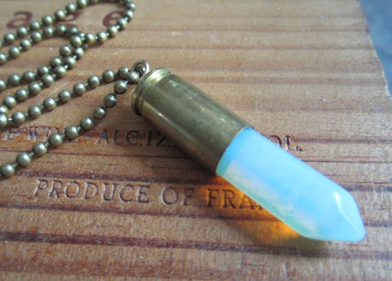 Opal & Bullet Pendant Necklace