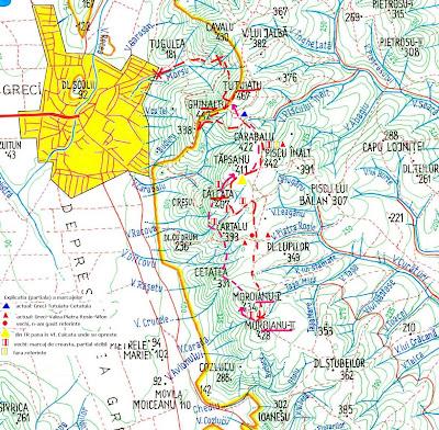 fragment Harta Macin: Greci - Tutuiatu - Calcata - Moroianu